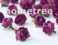 "Lovely 60pcs 1"" Dark Purple Silk Flowers Heads Rose Flower Wedding Birthday Party Decorations Free Shipping"