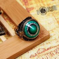 Fashion Ring.Retro green gem emerald eye ring vintage engraved finger ring Free shipping (Min.order is $10 mix order)  JJB124