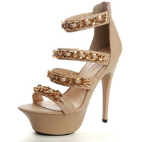 [Free shipping] 2013 New arrival fashion metal chain 14cm ultra high heels sandals wine glass heels women's pumps