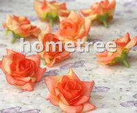 "Lovely 50pcs 2"" Orange Silk Flowers Heads Rose Flower Wedding Birthday Party Decorations Free Shipping"