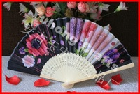 Free shipping 60pcs/lot traditional Chinese hand fan bamboo handicrafts with flower designs assorted