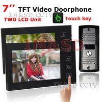 7 Inch TFT Touch Screen Color Video Door Phone Night Version Camera Intercom system 11 Door Bell Rings ( 1 camera+2 monitors)