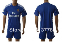 free shipping new 13-14 Real Madrid blank  blue  soccer jersey  away  fashion  soccer uniforms jerseys cheap hot sell