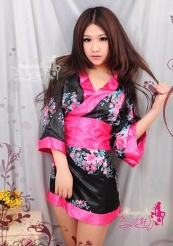 Free shipping,Midnight charm Japanese flower kimono uniform temptation sexy lingerie sexy nightgown bathrobe robe