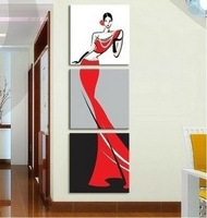 Hand-painted combination oil paintings, the girl in red dress, the modern popular wall decoration painting 3 p combination