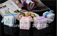 Hot sell 100pcs Hollow out Wedding Party Favors Boxes Candy Boxes Gift Bags with Ribben 4 colors for Choosing Free Shipping