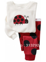 P452, Ladybird, Baby/Children pajamas, 100% Cotton Rib long sleeve T shirt + pant sleepwear/clothing sets for 2-7 year.