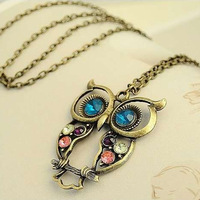 Fashion Lovely Vintage Colorful Cute OWL Necklace Freeshipping