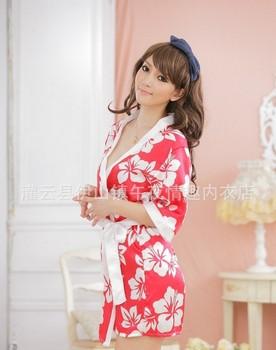 Free shipping ,Sexy lingerie sexy uniforms red flower bathrobe kimono three-piece