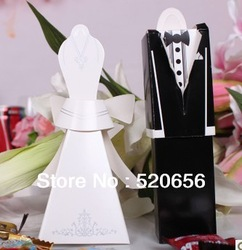 Free shipping wedding favour candy boxes with guest card holder bridal and groom candy gift boxes wedding candy box 100pcs/lot(China (Mainland))
