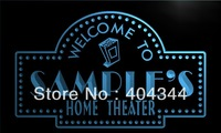 DZ009-TM Name Personalized Custom Home Theater Bar Neon Sign(3D Carving(Crystal Light Box(Free Shipping(Wholesale