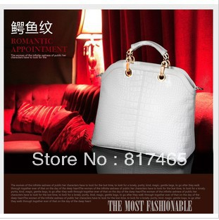 Elegent Beautiful Designer Women Handbag White Crocodile Bag Purse European US UK Popular Style Shoulder Bag(China (Mainland))