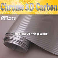 FedEx FREE SHIPPING High Quality Silver Chrome Carbon Fiber Vinyl For Vehicle Wraps With Air Bubble Free Size: 1.52*30M/Roll