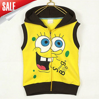 Free Shipping 2014 new SpongeBob Clothes cotton vest for children boys and girls kids top kids hoodies In Stock