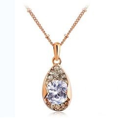Top Quality Crystal Pendant 18K Gold Plated Plating Necklace Rose Gold Free Shipping(China (Mainland))