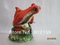 Free shipping Europe Hot !!! Fashion frog trinkets pewter alloy rhinestone frog jewelry box