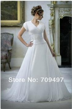 Sleeve waist bridal gown, boutique wedding dress free shipping chiffon deep V-licensed code wedding