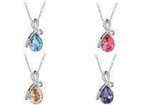 40+5cm silver-tone necklace with 3.2cm zircon pendant #pn130501 mixed color, great birthday gift, mother's day valentine w