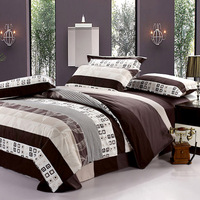Hotel wedding bedroom Textile 100% full cotton duvet cover bed sheets piece, comfortable novelty household bed sets full size