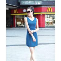 2013 hot, women V-neck dress, summer, sleeveless, slim, free shipping,