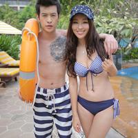 2013 bribed swimwear swimsuit male stripe lovers beach pants