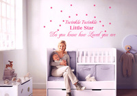 Twinkle Twinkle Little star- Wall Decals - Nursery Wall Decals -Vinyl Lettering Wall Art  50*125CM  Free shipping