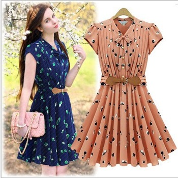 Trendy quality Brief woman ladies 2013 new chiffon V-neck short sleeve British style dress summer dresses with belt s m l xl