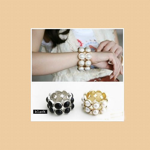 South Korea Two Layer Black White Pearl Bangle Bracelet Free Shipping Wholesale(China (Mainland))