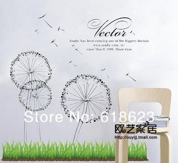 Wholesale 10pc / lot DIY Dandelion wall art sticker 72*80cm parlor home decor tv Sofa background pvc sticker removable LD629