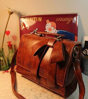 Free shipping Japanese style vintage box cutout bow small fresh women's cross-body shoulder bag handbag