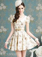Free Shipping! Summer Sweet Printing Bow Bubble Slim Short-Sleeved Dress