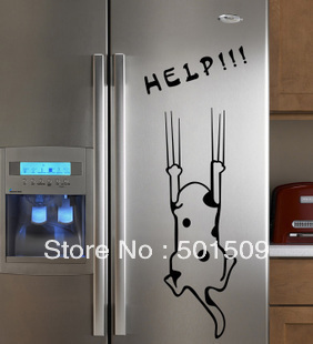 Refrigerator/Fridge/Art Wall Stickers / Wall Decals /House decoration help cute DIY sticker dog/cat(China (Mainland))