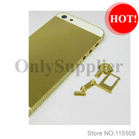 Free shippingLuxurious Crystal Diamond GOLD Plated Chassis Middle Frame Housing For iPhone 5