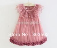 HOT Children BABY Girls short-sleeved Chiffon ruched dress /  princess dress / pleated dress . 5SETS/ LOT