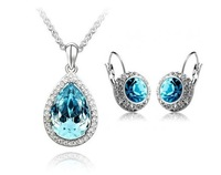 Wholesale White Gold Plated Crystal Necklace/Earrings Austrian Crystal Set Fashion Jewelry MG607