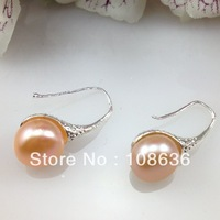 Mini Order 15 Free Shipping (5pcs/lot) 11-12mm  AAA Freshwater Pearl Drop Earring  Silver Plated