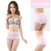 Women high waist Lace paties sexy underwear 92%bamboo fiber  briefs 7pcs/lot 10colors free shipping