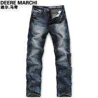 Men's clothing autumn and winter british style male water wash slim jeans trousers dm9722
