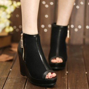 Side zipper breathable gauze women's wedges shoes high-heeled fashion boots platform boots single boots open toe(China (Mainland))