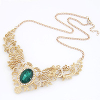 Min. order is $10 (mix order) free shipping 2014 new jewelry european Female gem fashion short chain cutout flower vine necklace