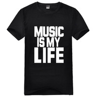 Music is my life multi-color o-neck short-sleeve T-shirt