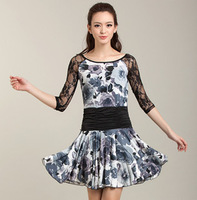 French ! print skirts Latin dance one-piece dress dance skirt q141