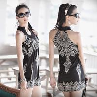 Hot-selling ! 2013 spring new arrival summer vintage sleeveless elastic mercerized cotton dress one-piece dress female