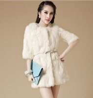 leather coat Rabbit real  fur splicing real real  fur coat can new paragraph round collar ladies grows in spring 2013