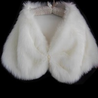 Bride cape long fur shawl ivory white pj002