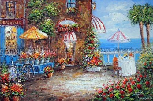 100% hand painted French Restaurant On Shore Ocean Flower Cart Sidewalk Table Oil Painting free shipping High quality(China (Mainland))