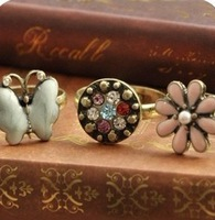 Free shipping, Accessories fashion princess butterfly rustic small fresh flower vintage ring female