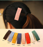 Free shipping, Candy color hair pin elegant dot fabric hairpin side-knotted clip bb clip size rectangle
