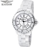 Kassaw Swiss Pearl Ceramic White Elegant Lady Watch Fashion Rhinestone Women Watch Waterproof 200m Anti-skidding Wear Resistant