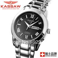 Limited Edition Brand Kassaw Male Luminous Watch Business Casual Mens Watch Waterproof Double Calendar Stainless Steel Glowwatch